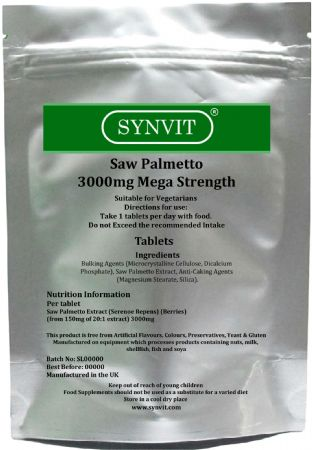 SYNVIT® Saw Palmetto 3000mg Mega Strength Tablets